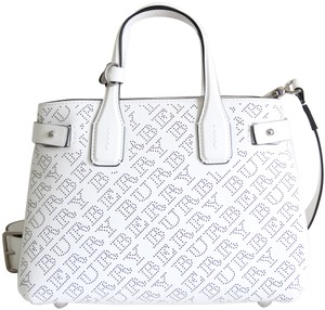 Burberry Leather Perforated Logo Check Banner Tote in White