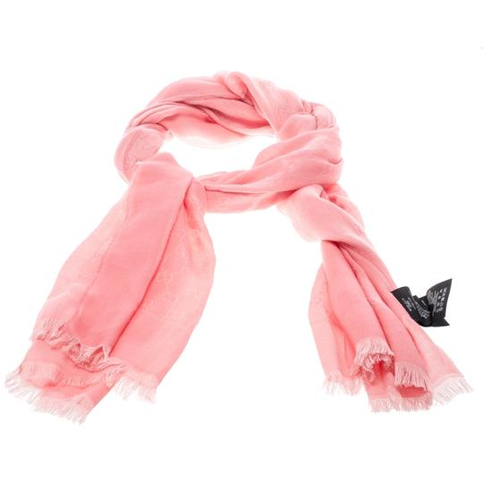 Gucci Pink Guccissima Fringed Edge Cotton Scarf Image 2