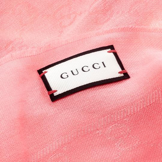 Gucci Pink Guccissima Fringed Edge Cotton Scarf Image 4