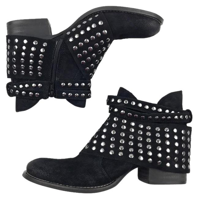 Item - Black/Silver Reno Suede Leather Studded Ankle Boots/Booties Size US 8 Regular (M, B)
