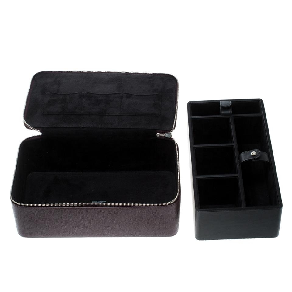 Dolce Gabbana Burgundy Box Leather Jewelry And Sunglasses Organizer Cosmetic Bag 34 Off Retail