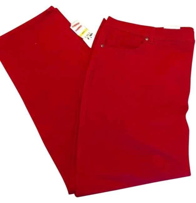 Item - Red Have In Several Colors. Coated Denim Woman Tummy Panel Higher Rise Straight Leg Jeans Size 24 (Plus 2x)