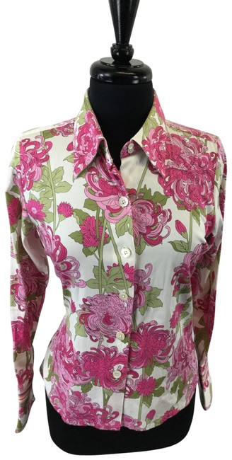 Item - Pink White Green Blouse Size 4 (S)