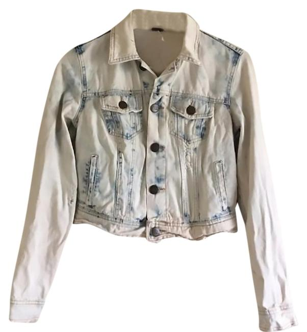 Item - Blue and White Distressed Acid Bleach Wash Jacket Size 2 (XS)