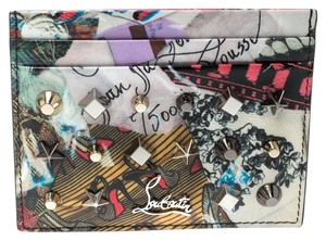 84a66362b698 Christian Louboutin Multicolor Trash Print Patent Leather Kios Spiked Card  Holder