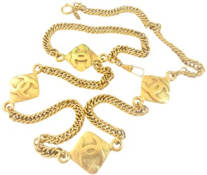 Chanel Chanel vintage CC logos 4 charms chain necklace 36.5 inches