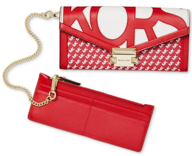 Item - Whitney Large Graphic Logo Chain Wallet Red White Leather Clutch