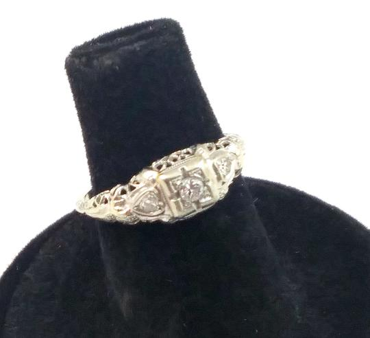 White Antique Diamond 18k Gold Filigree Engagement Ring Image 0