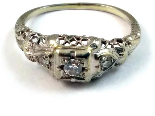 White Antique Diamond 18k Gold Filigree Engagement Ring Image 1