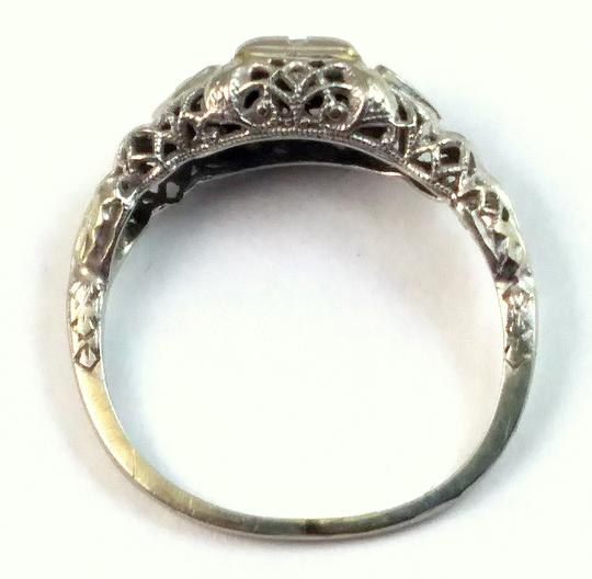 White Antique Diamond 18k Gold Filigree Engagement Ring Image 3