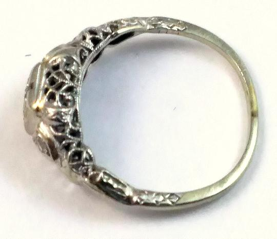 White Antique Diamond 18k Gold Filigree Engagement Ring Image 4