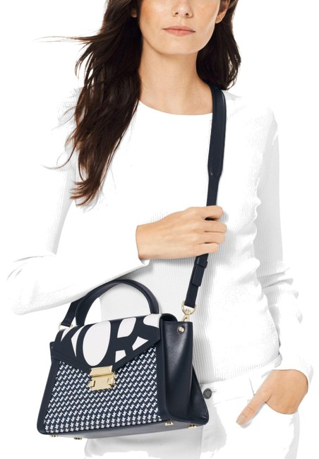 Item - Whitney Graphic Admiral White Leather Satchel