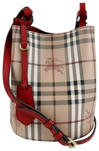 0ac684800a2c Burberry Beige Red Coated Canvas Leather Haymarket Cross Body Bag