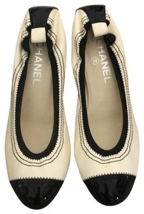 Chanel black and white Wedges