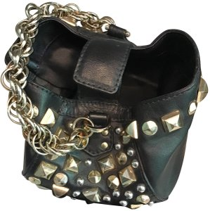 Versace for H&M Leather Footed Magnetic Closure Chain Limited Edition Wristlet in Black w/Gold Studs