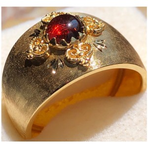 Milor Wide Band Garnet Ring On 14KT Yellow Gold