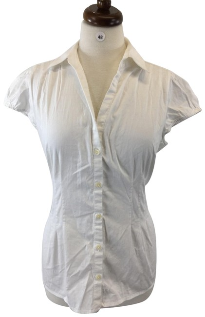 Banana Republic White Button-down Top Size 12 (L) Banana Republic White Button-down Top Size 12 (L) Image 1