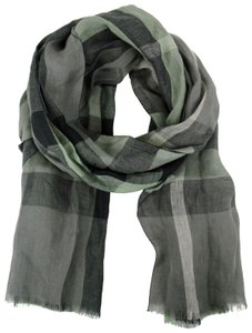 Burberry Burberry Gray/Green Nova Checkered Linen Crinkle Scarf 39313301
