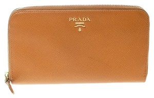 Prada Mustard Saffiano Metal Leather Zip Around Wallet