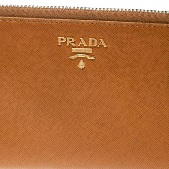 Prada Mustard Saffiano Metal Leather Zip Around Wallet Image 4