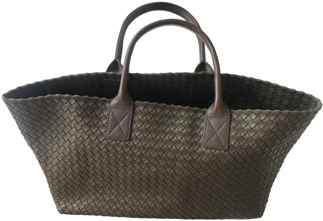 Item - Bag Intrecciato Woven Nappa Large Cabat Dark Green/Military Green/Dark Olive Green Lambskin Leather Tote