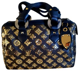 Louis Vuitton Satchel in Monogram, black leather and gold sequins.