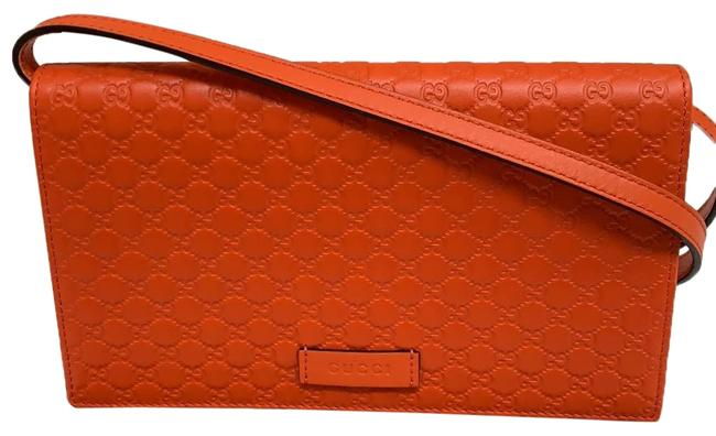 Item - Wallet with Strap Orange Leather Messenger Bag
