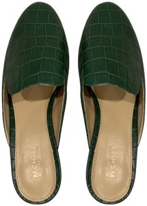 d3fb8bbc0dc Michael Kors Natasha Embossed Leather Slide Mules Green Flats