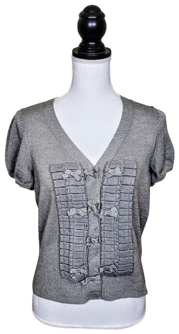 Item - Silver Shimmery Solid / Knitted & Knotted Addeo Cardigan Size 12 (L)