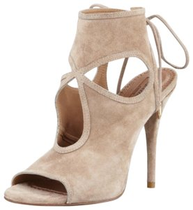 Aquazzura Sexy Thing Cutout Suede Heel Nude Sandals