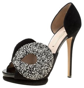 Nicholas Kirkwood Monochrome Suede Platform Leather Peep Toe Black Sandals