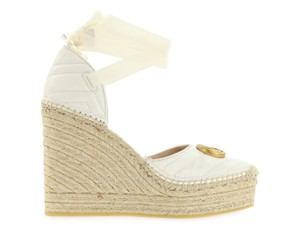 Gucci Leather Rubber Gold Hardware White Wedges