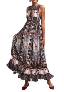Anthropologie Ruffle Striped Floral Sequin Beaded Dress