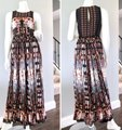 Anthropologie Ruffle Striped Floral Sequin Beaded Dress Image 1