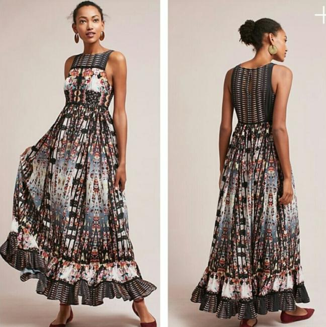 Anthropologie Ruffle Striped Floral Sequin Beaded Dress Image 10