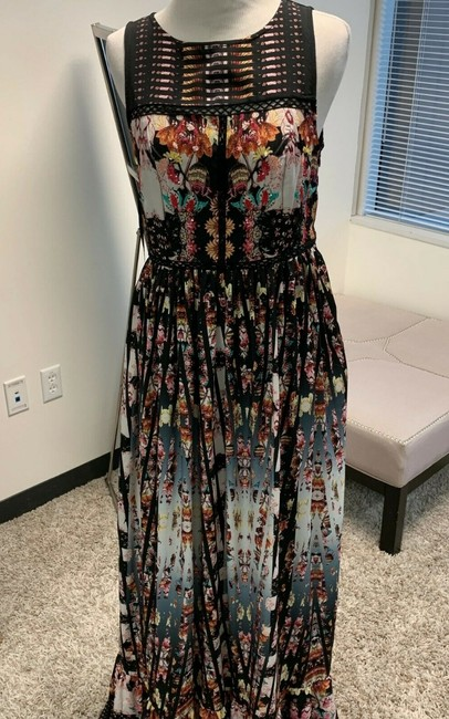 Anthropologie Ruffle Striped Floral Sequin Beaded Dress Image 11