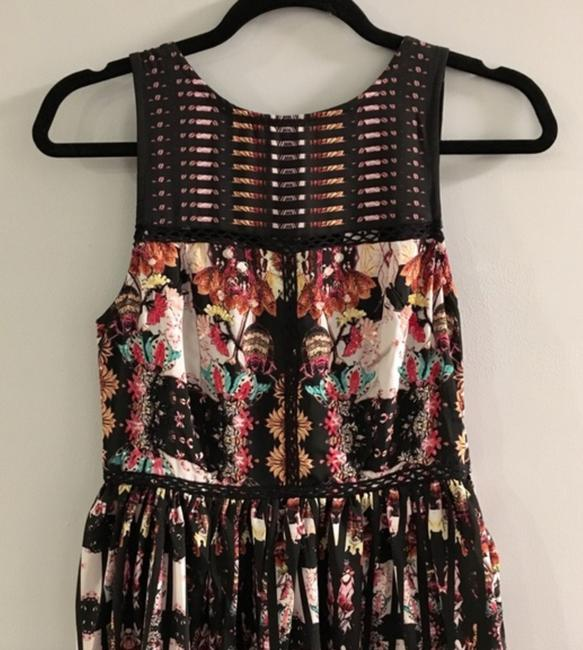 Anthropologie Ruffle Striped Floral Sequin Beaded Dress Image 2