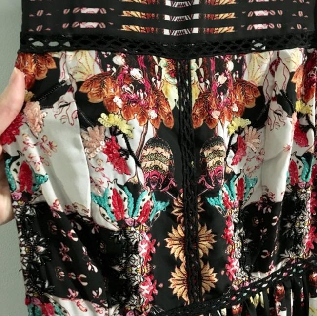 Anthropologie Ruffle Striped Floral Sequin Beaded Dress Image 3