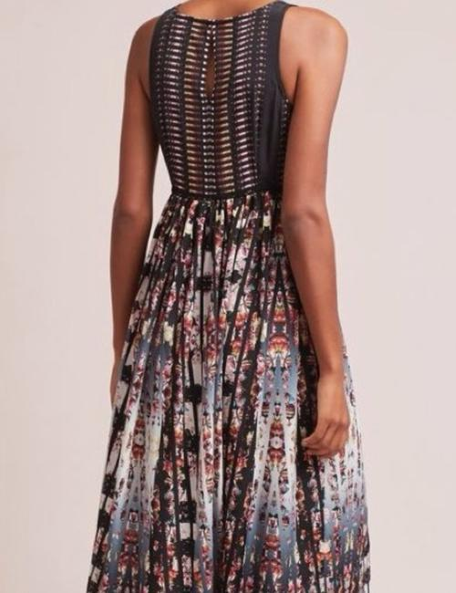 Anthropologie Ruffle Striped Floral Sequin Beaded Dress Image 9