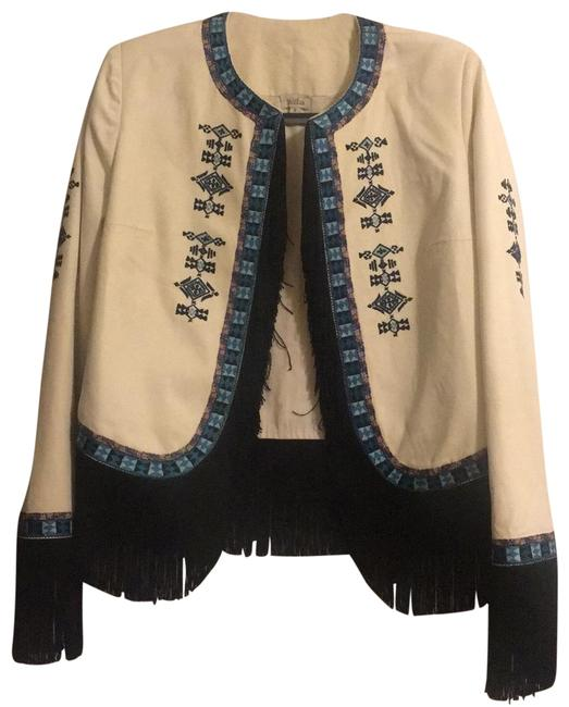 Item - Off White and Blue with Blue and Red Embroidery Fringe Canvas Jacket Blazer Size 8 (M)
