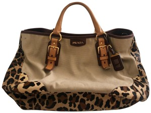 Prada Satchel in Beige, Brown, Leopard Print
