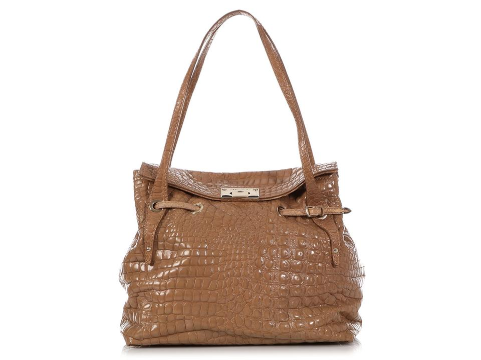 be8c19556c Jimmy Choo Jc.q0321.09 Gold Hardware Fold Over Embossed Belted Tote in  Beige ...