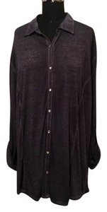 French Laundry Burnout Color-blocking Rhinestone Plus Plus-size Button Down Shirt Navy