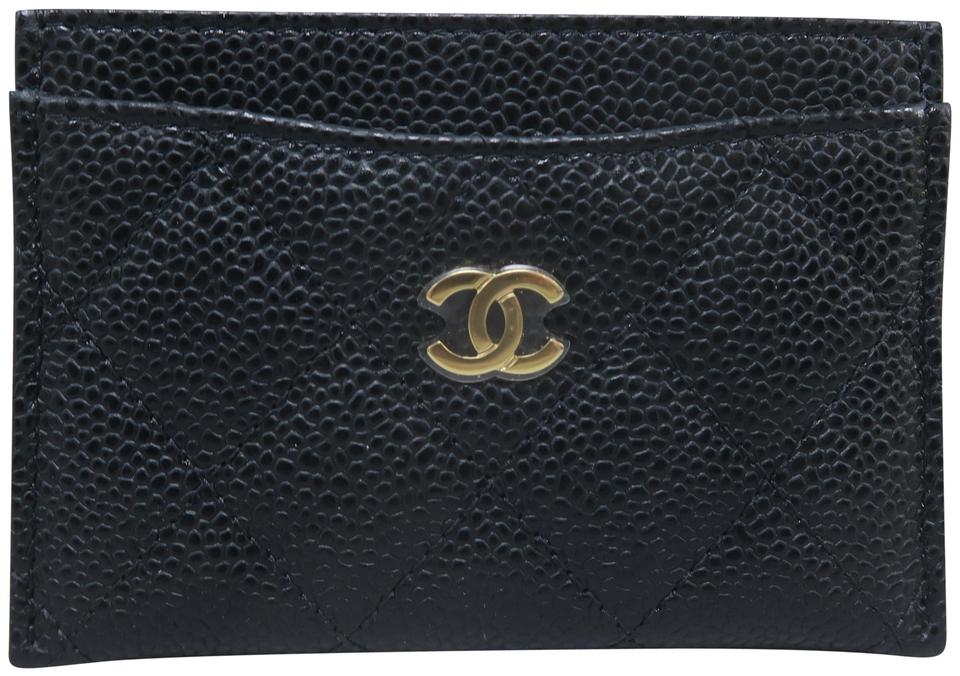 3f2233806e2497 Chanel Black Caviar Quilted O-card Holder Wallet Image 0 ...