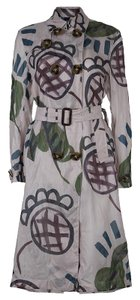 Burberry Prorsum Print Cotton Silk Trench Coat