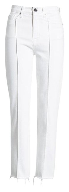 Item - White Zoeey Pintuck High Waist Crop Straight Leg Jeans Size 6 (S, 28)