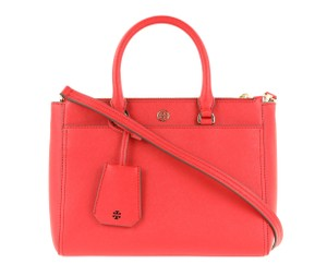 Tory Burch Leather Nylon Gold Hardware Tote in Red