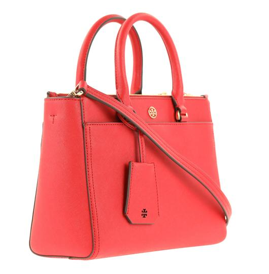 Tory Burch Leather Nylon Gold Hardware Tote in Red Image 1