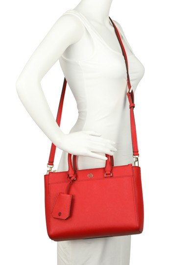Tory Burch Leather Nylon Gold Hardware Tote in Red Image 10
