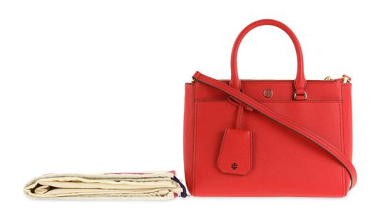 Tory Burch Leather Nylon Gold Hardware Tote in Red Image 11